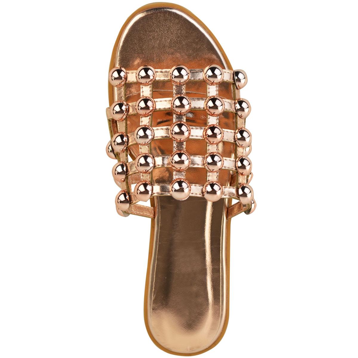 Bottes femme plates cloutées curseurs Caged Sandales Bout Ouvert à Enfiler Chaussures