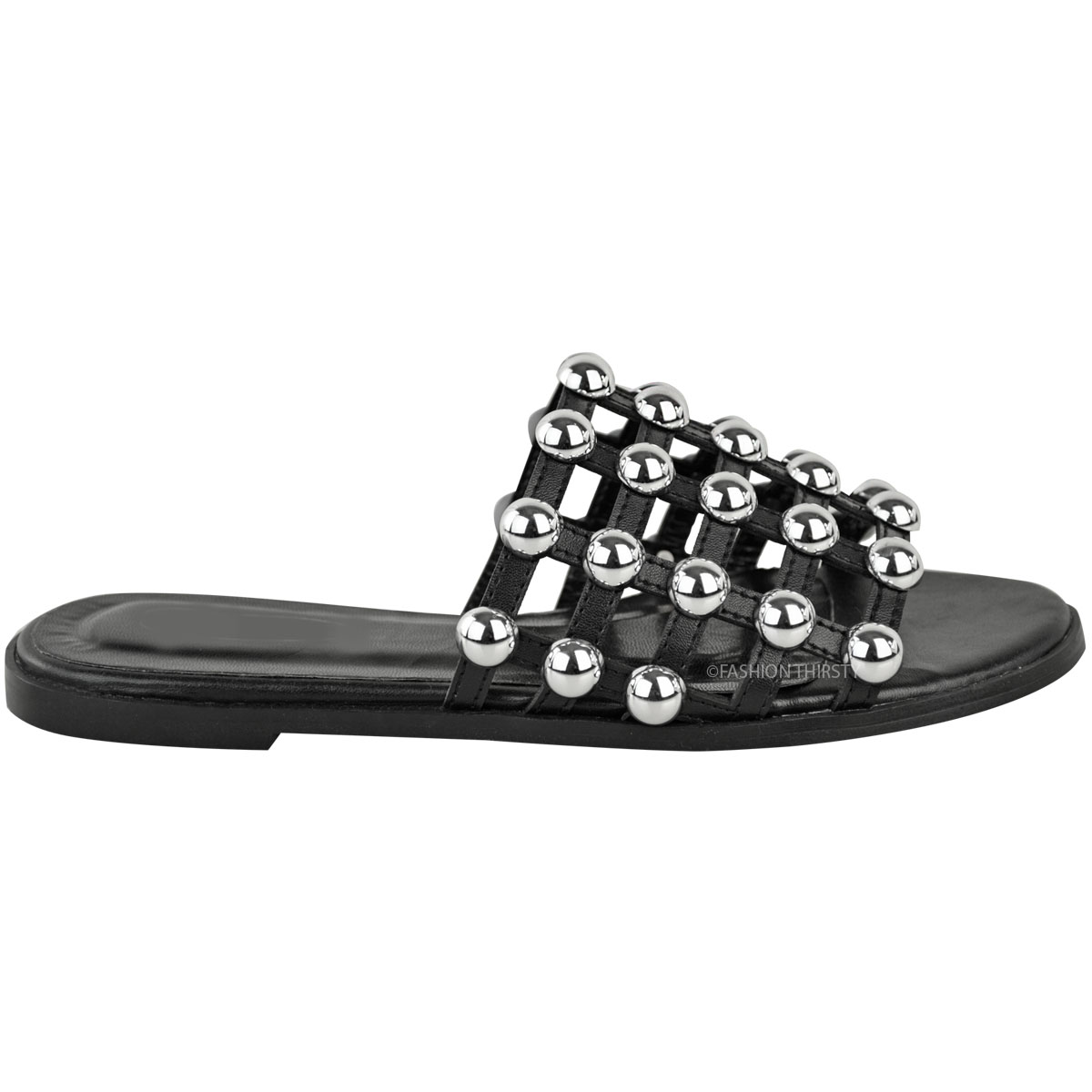 b67a6f8fbac Details about Womens Ladies Studded Slider Flat Summer Sandals Cage Slides  Bling Diamante Size