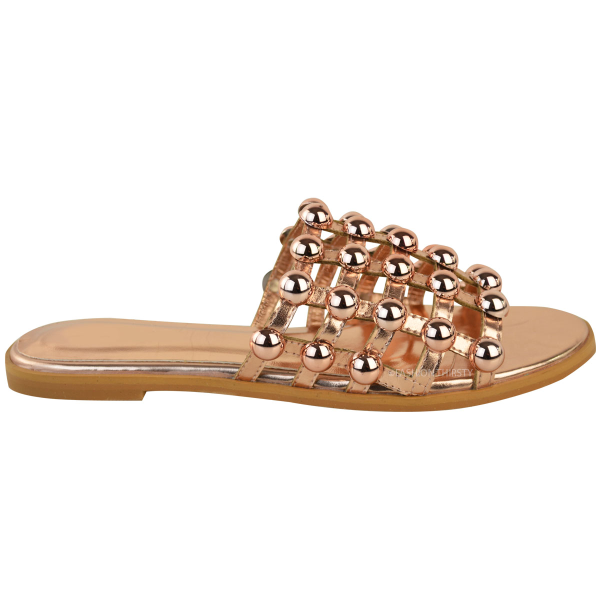 Women Ladies Studded Flat Sandals Bling Diamante Cage Slide Summer Sliders Shoes