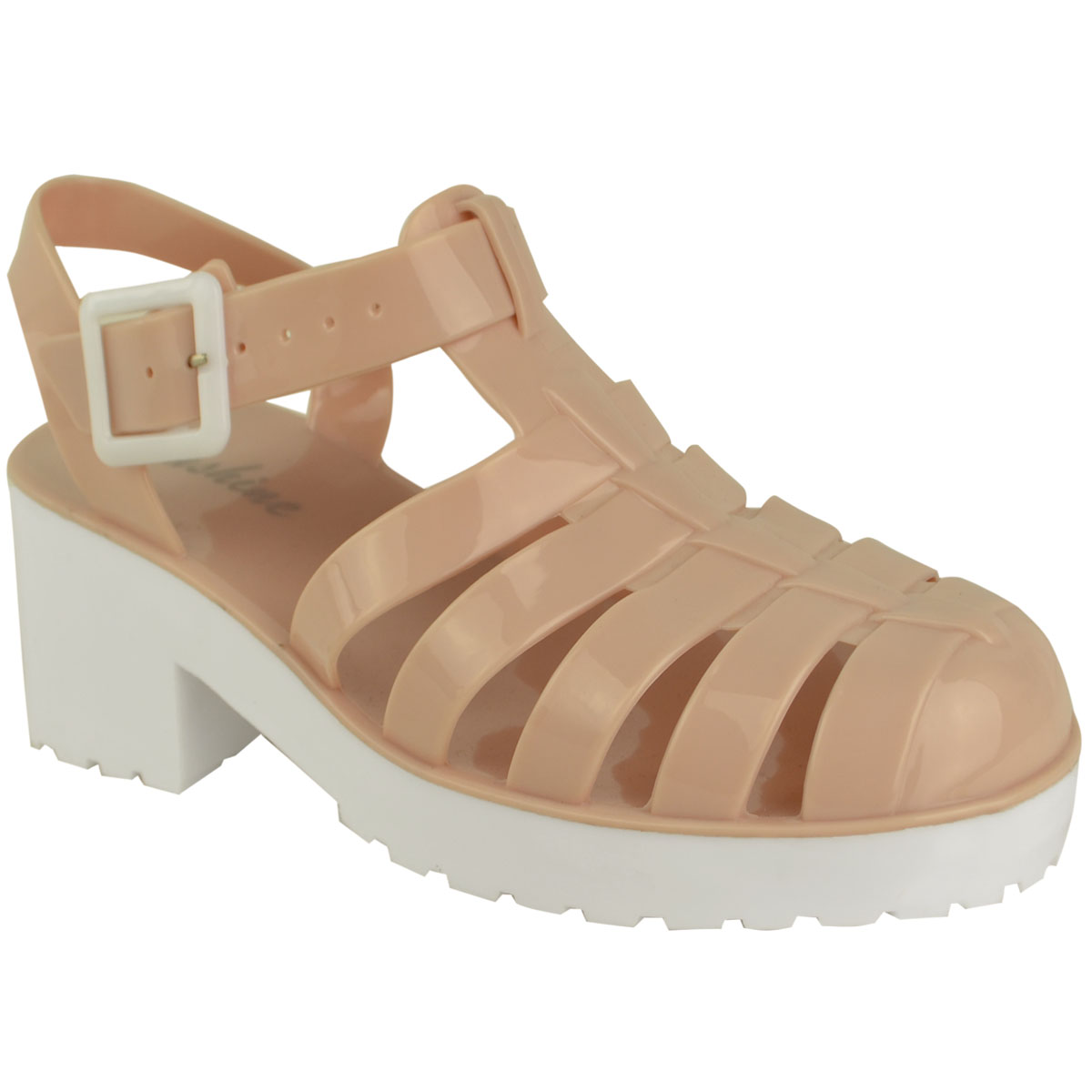 WOMENS LADIES JELLY SUMMER SANDALS PLATFORMS CHUNKY BLOCK LOW HEELS BEACH SIZE