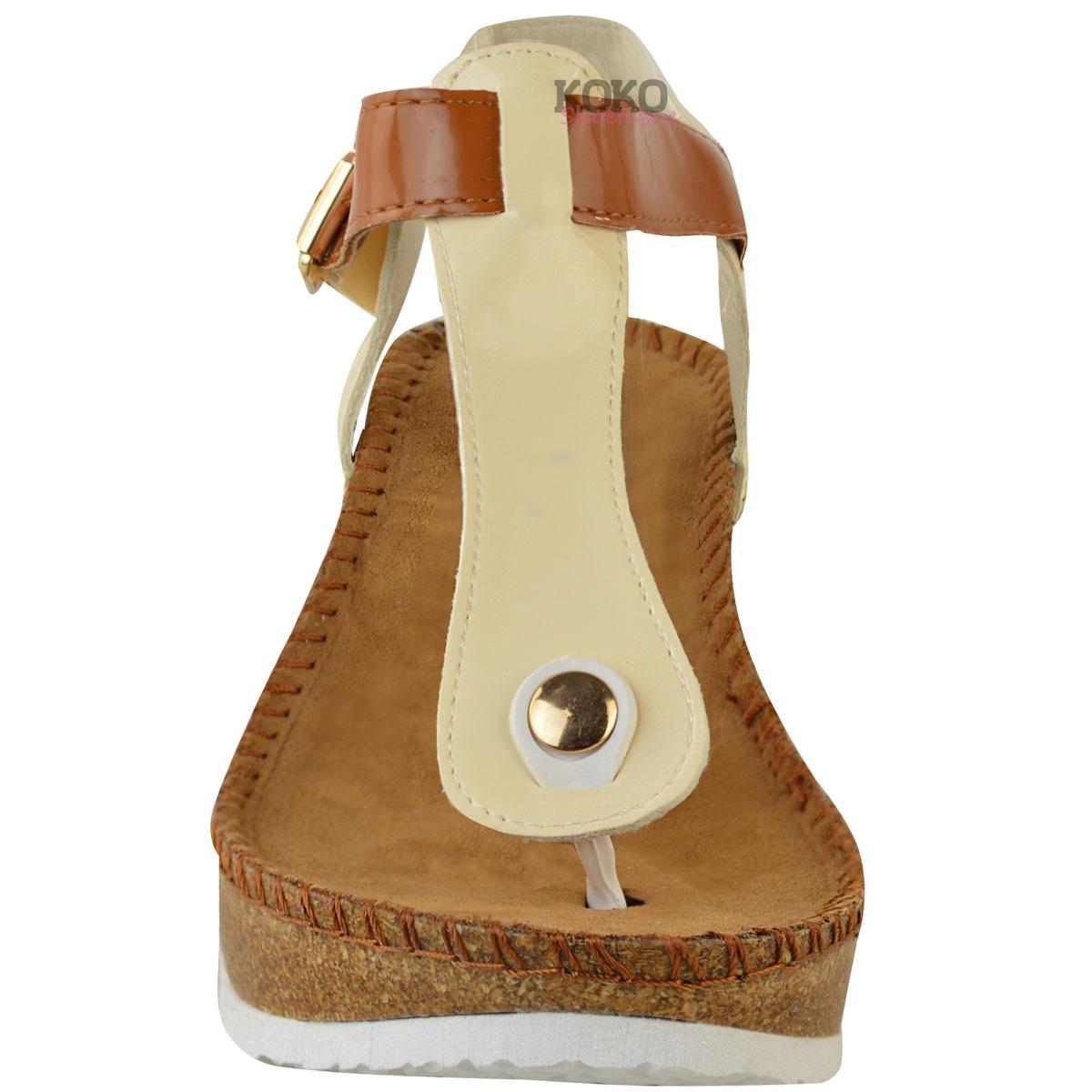 Nuevas señoras para mujer cuña plantilla acolchonada Ojotas Sandalias De Confort Zapatos Talla