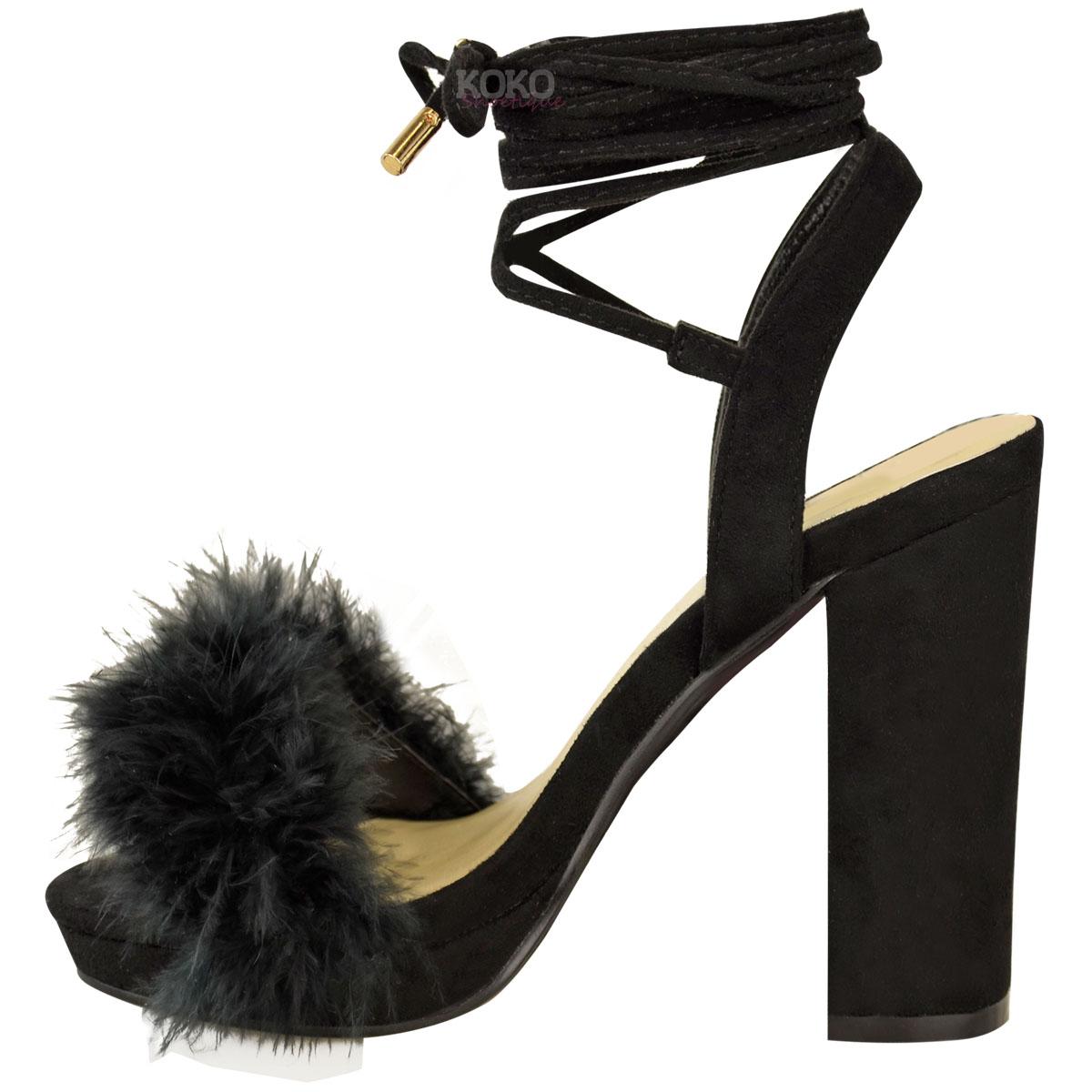 faa8c171c94 Womens Ladies Block High Heel Sandals Ankle Tie Up Fur Strappy ...