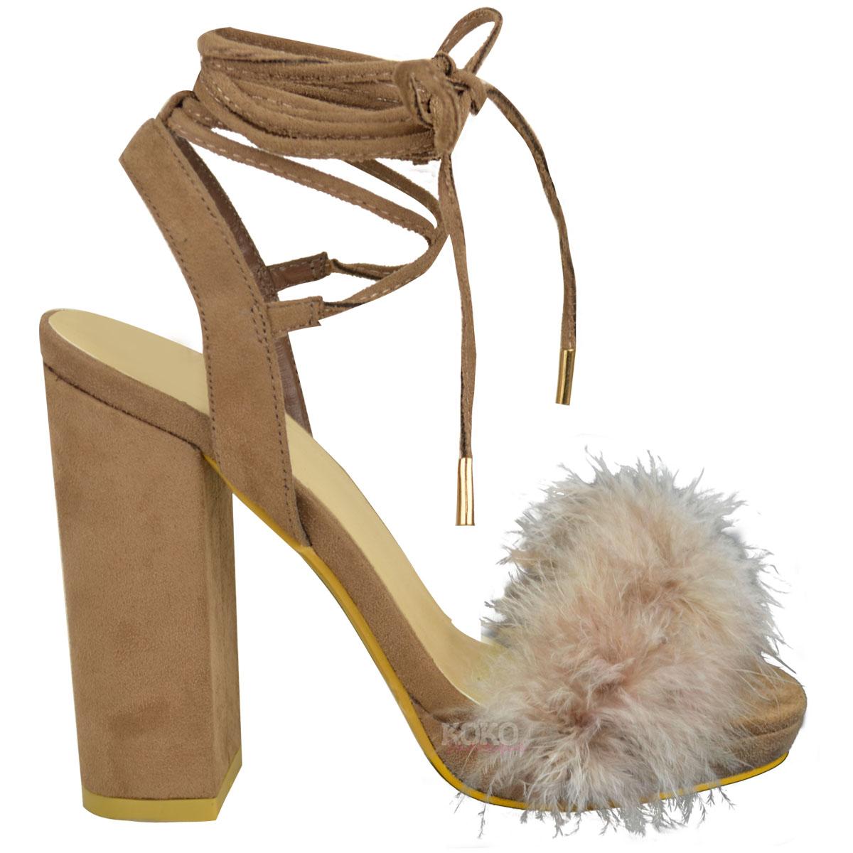 Womens Ladies Block High Heel Sandals Ankle Tie Up Fur ...