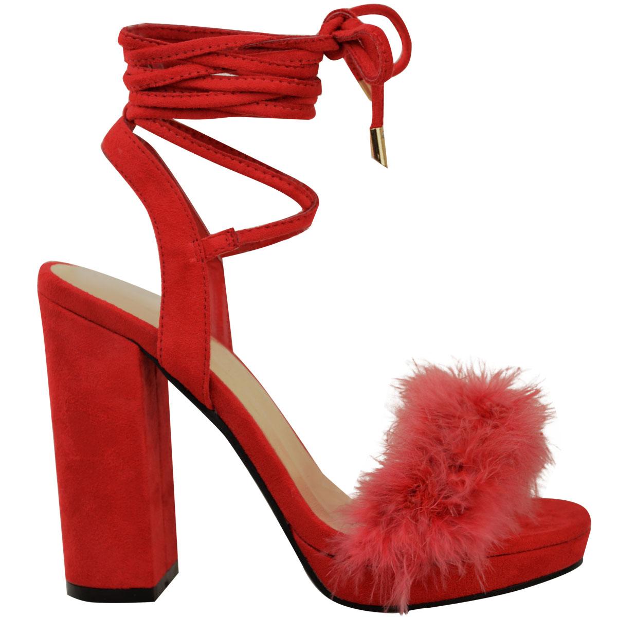 Womens Ladies Block High Heel Sandals Ankle Tie Up Fur Strappy Platforms Size UK