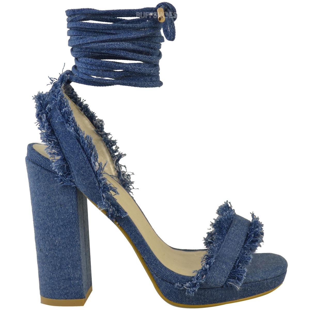 womens denim block high heels sandals lace up