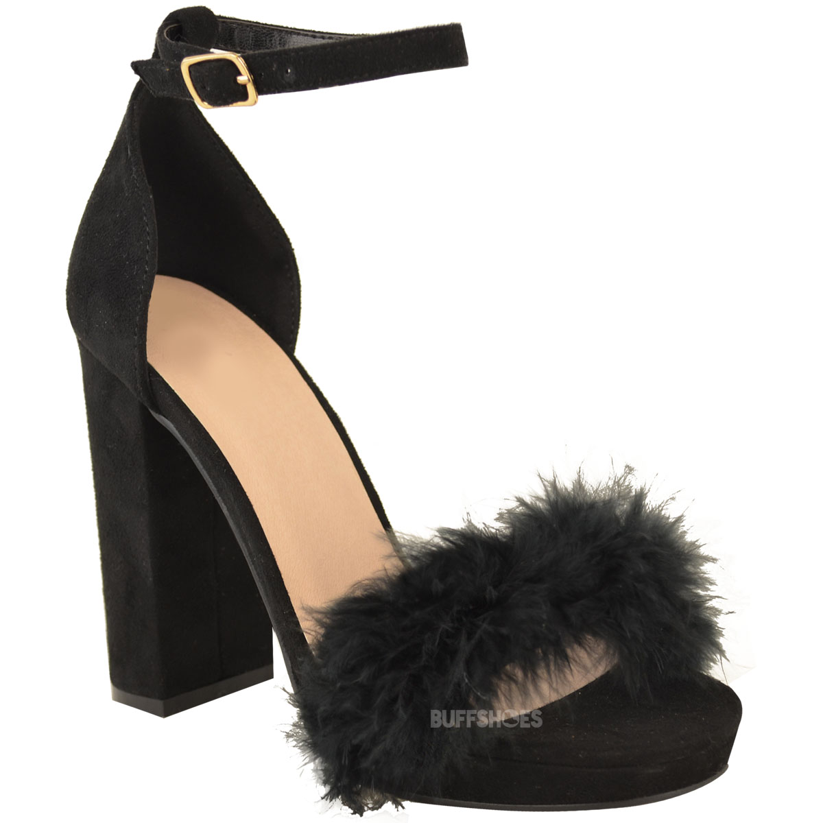 80a3e4d1a8 Womens Ladies Faux Fur Fluffy Marabou Sandals High Block Heel ...