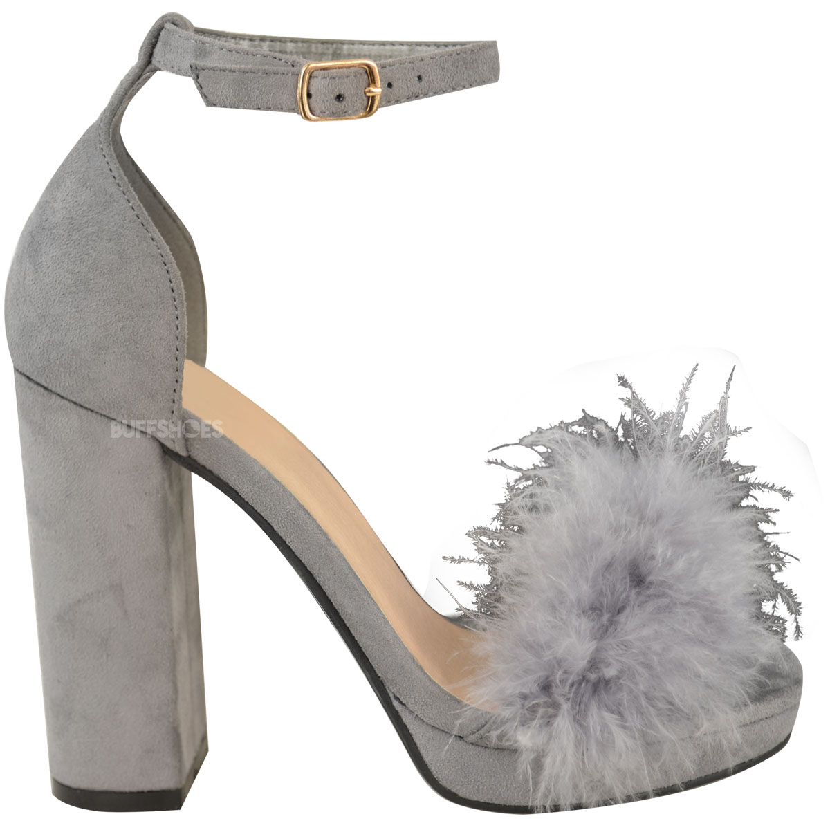 38982a8ebc0 Womens Ladies Faux Fur Fluffy Marabou Sandals High Block Heel ...