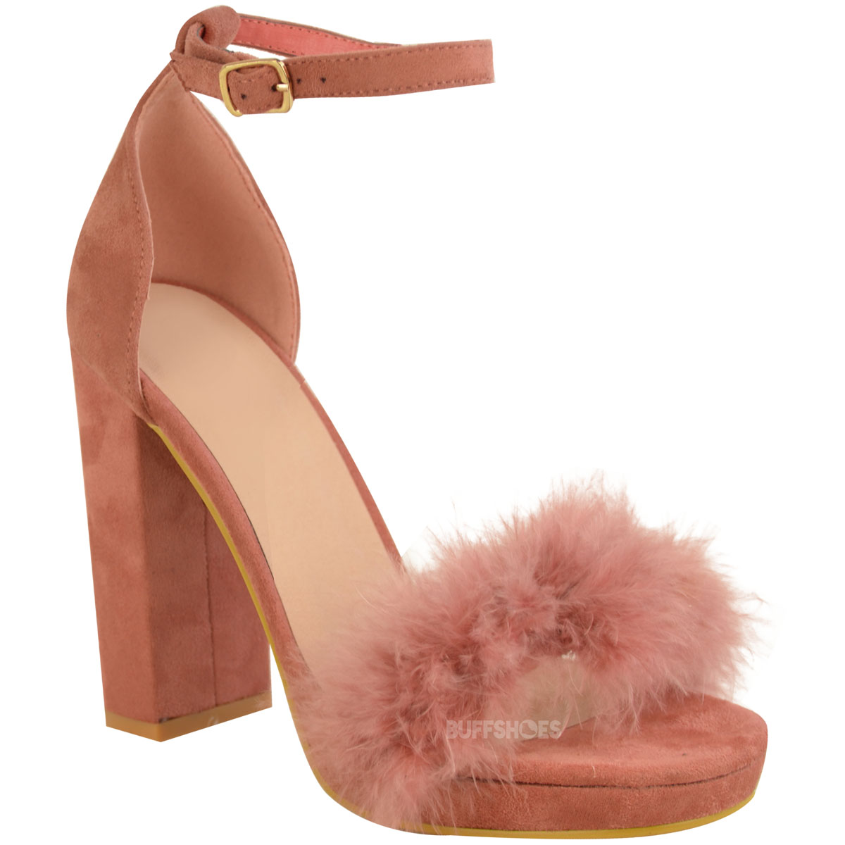 b709b625bc4 Womens Ladies Faux Fur Fluffy Marabou Sandals High Block Heel ...