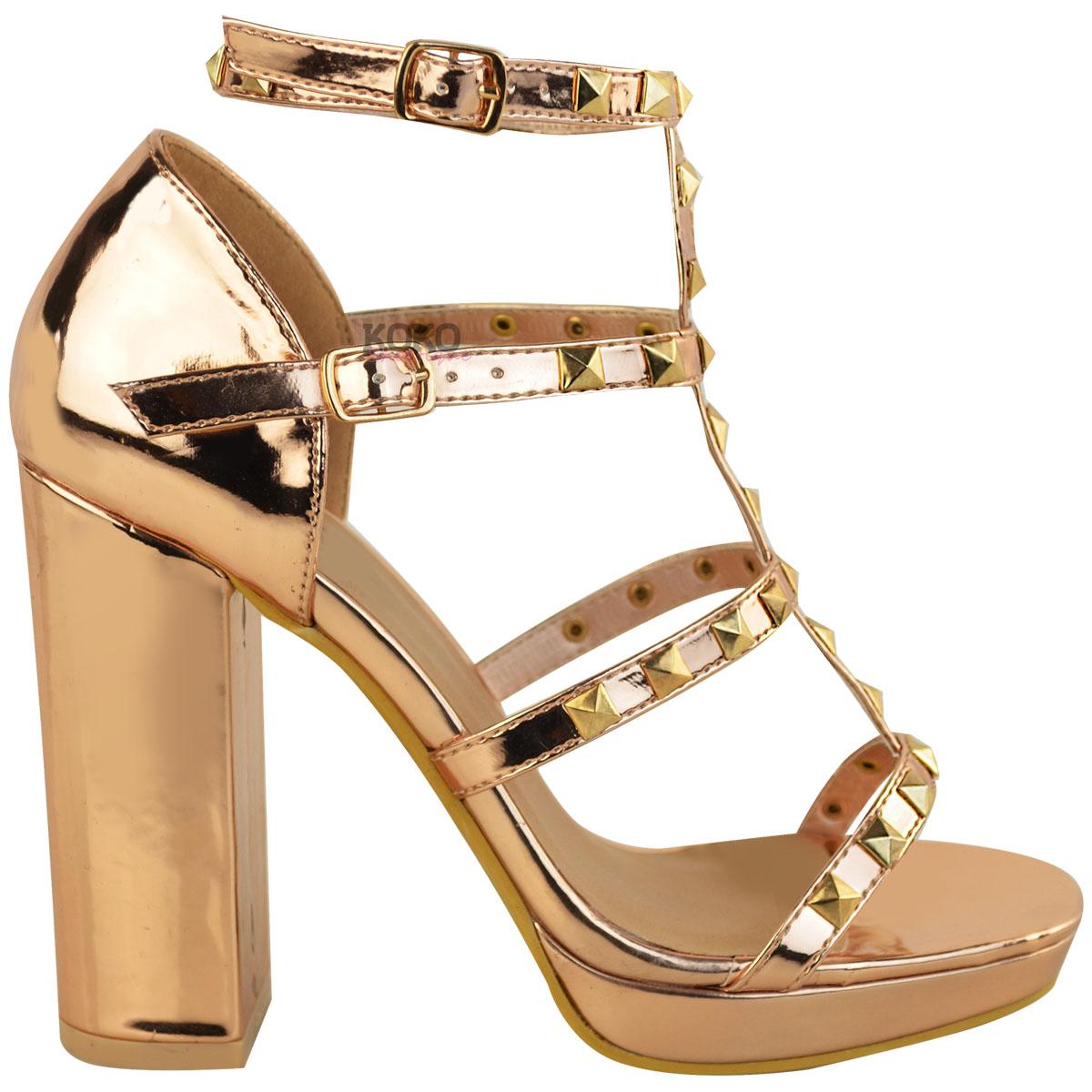 Womens Ladies Stud Block High Heels Sandals Rose Gold ...