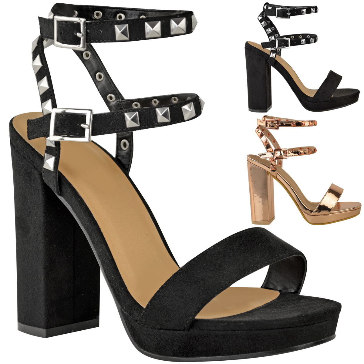 Womens Ladies Studded Rose Gold Block High Heel Party ...