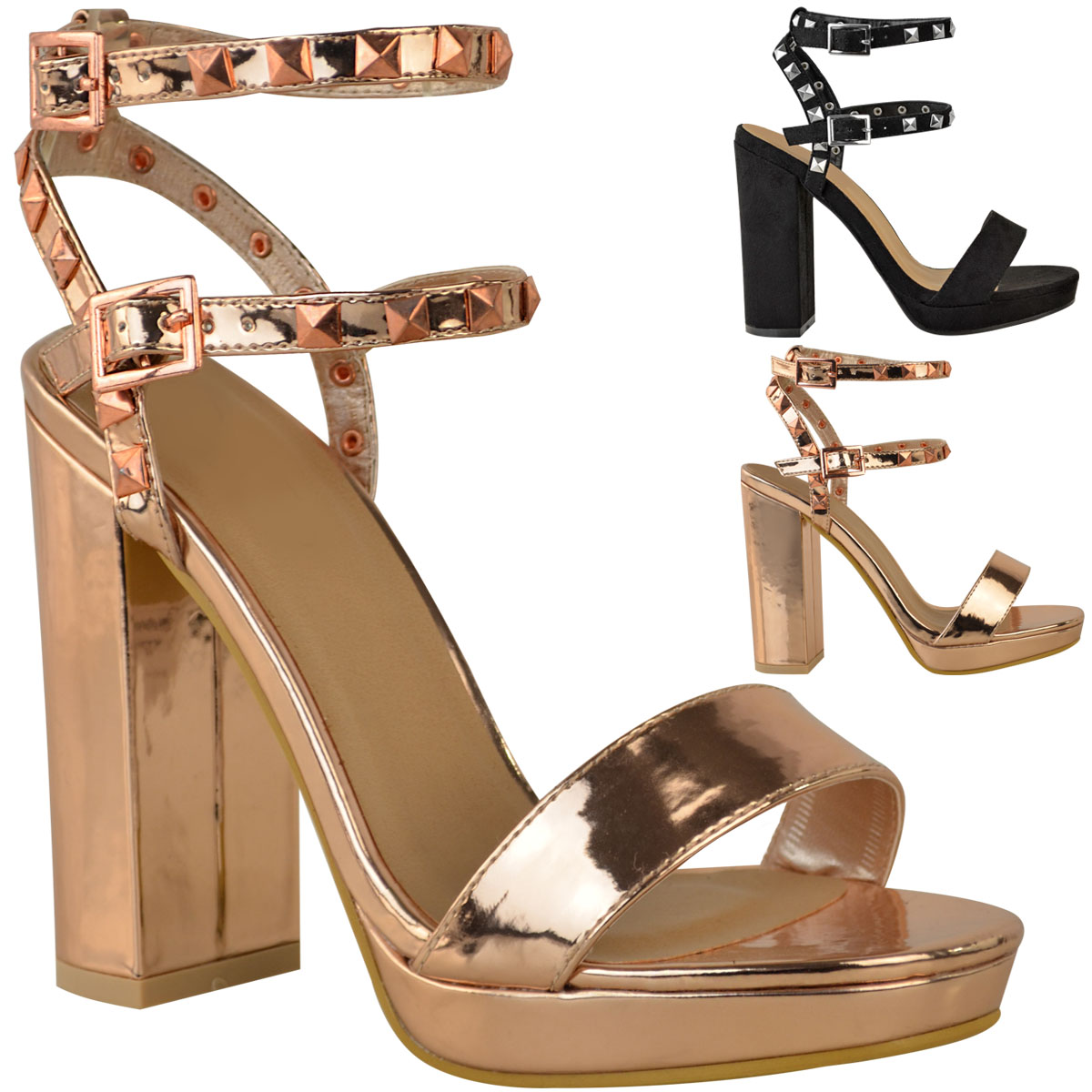 Womens Ladies Stud Block High Heels Sandals Rose Gold