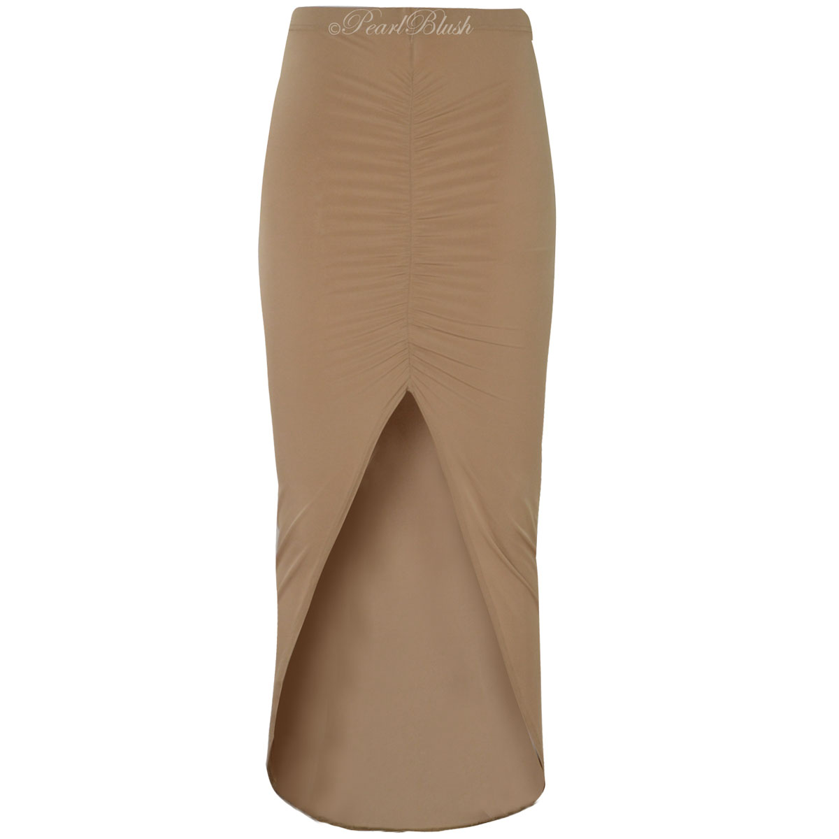 ruched side split skirt womens bodycon stretch