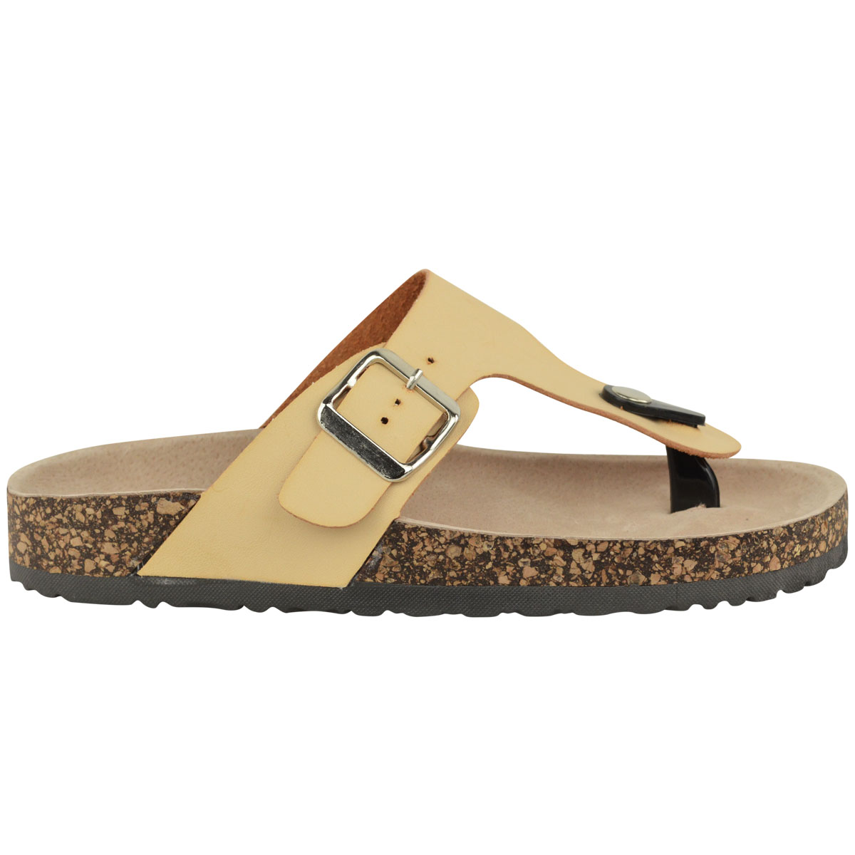 LADIES WOMENS LEATHER FLAT SUMMER COMFORT CUSHION CORK ...