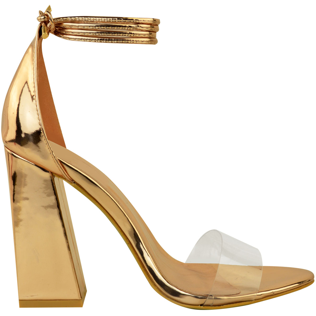 92da022c395 New Womens Perspex Clear Block Heel Strappy Sandals Ankle Lace Tie ...