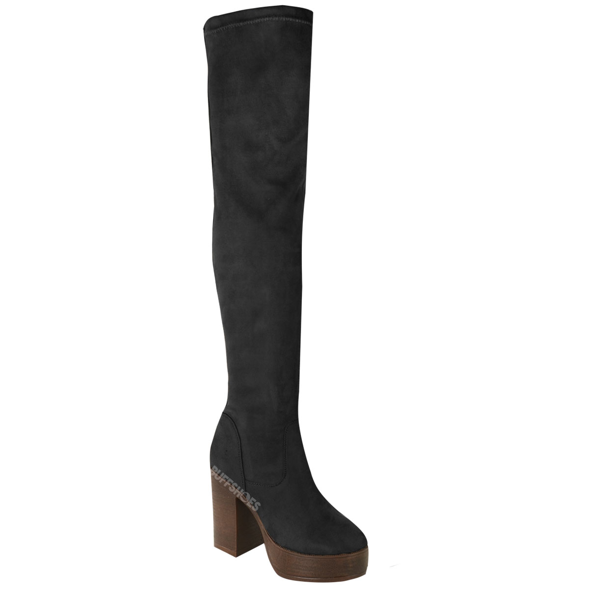 womens the knee boots platform block thigh