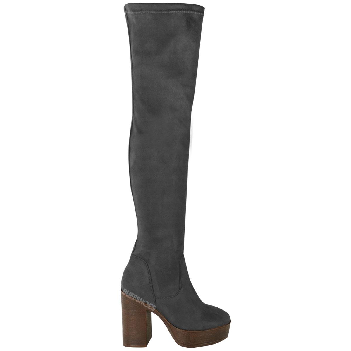 womens the knee boots platform block thigh