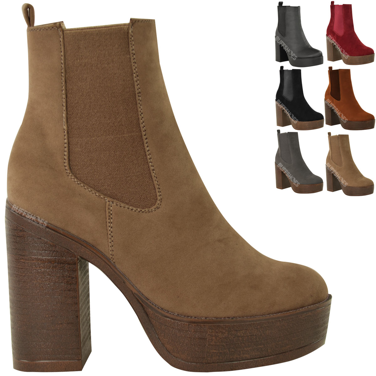 LADIES WOMENS CHELSEA ANKLE BOOTS SLIP ON CHUNKY PLATFORM ...