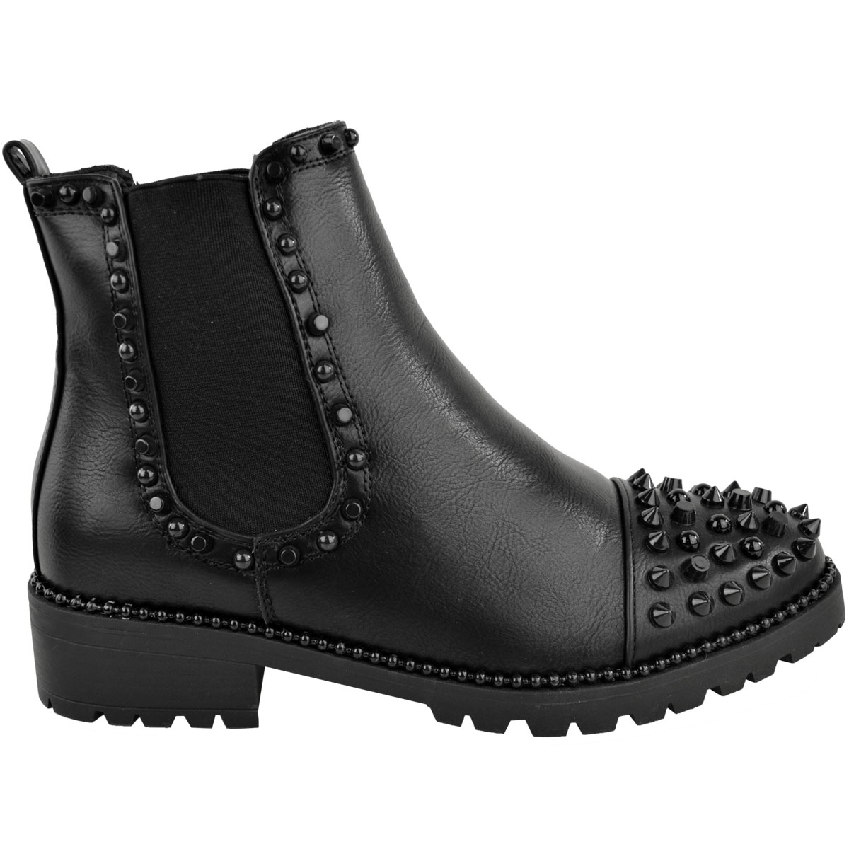 New-Womens-Ladies-Studded-Goth-Zip-Ankle-Boots-Gusset-Chelsea-Chunky-Punk-Size Indexbild 15