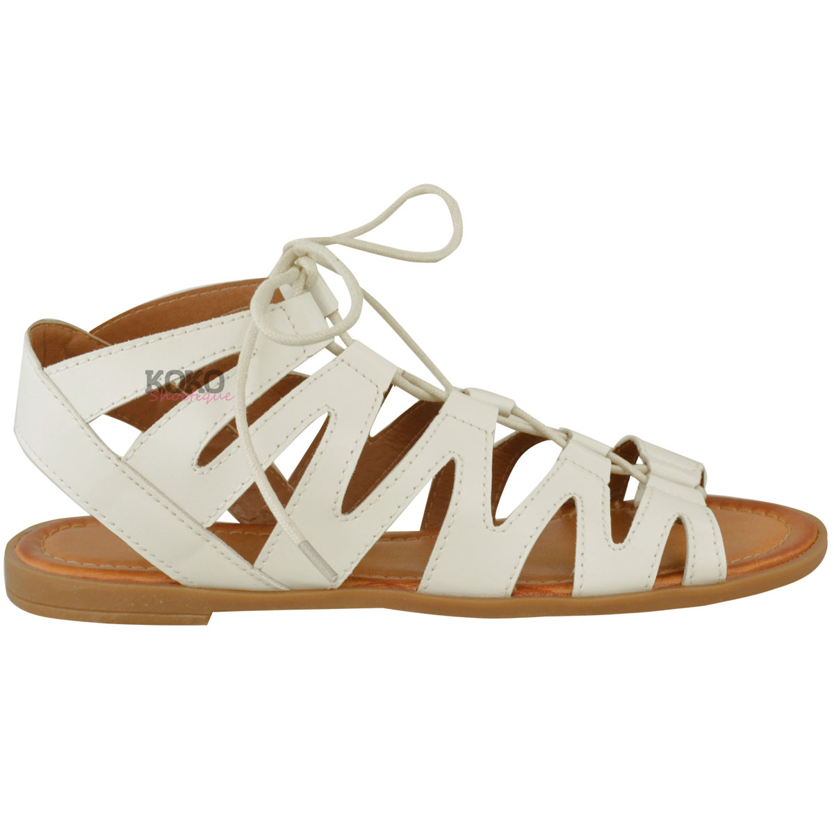 New Ladies Womens Flat Cut Out Sandals Chelsea Ankle Lace Up Peep Toe Shoes Size   EBay