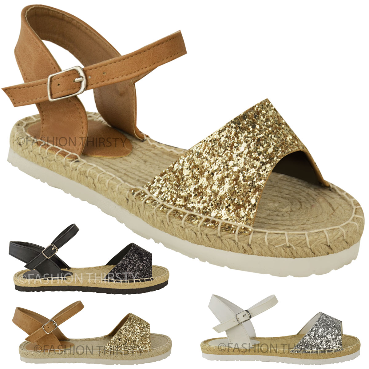 womens ladies flat low heel espadrilles glitter ankle strap sandals chunky size ebay. Black Bedroom Furniture Sets. Home Design Ideas