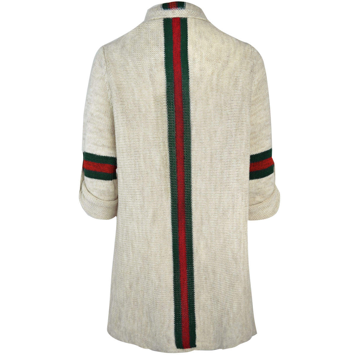 Womens Ladies Thick Winter Wrap Cardigan Jumper Sweater Stripe Long Short Sleeve