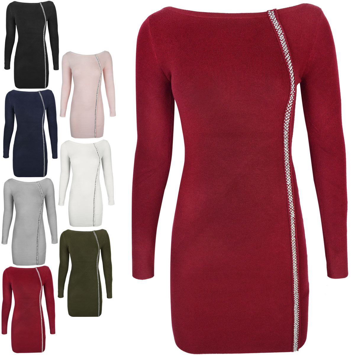 Femme-Femmes-Moulante-Robe-Pull-Jewel-Embelli-Stretch-Fit-Sweater-Taille
