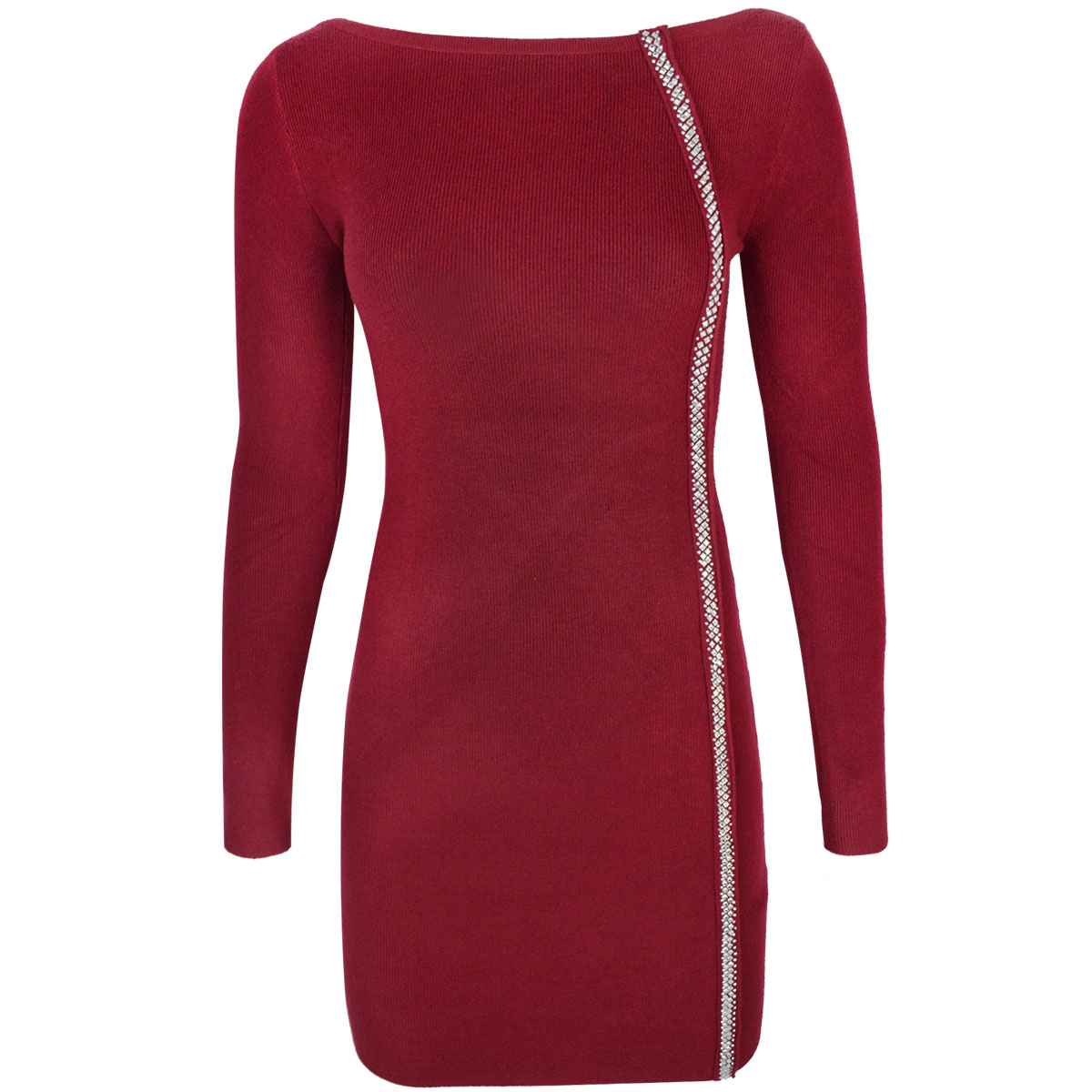 Womens Ladies Bodycon Jumper Dress Jewel Embellished