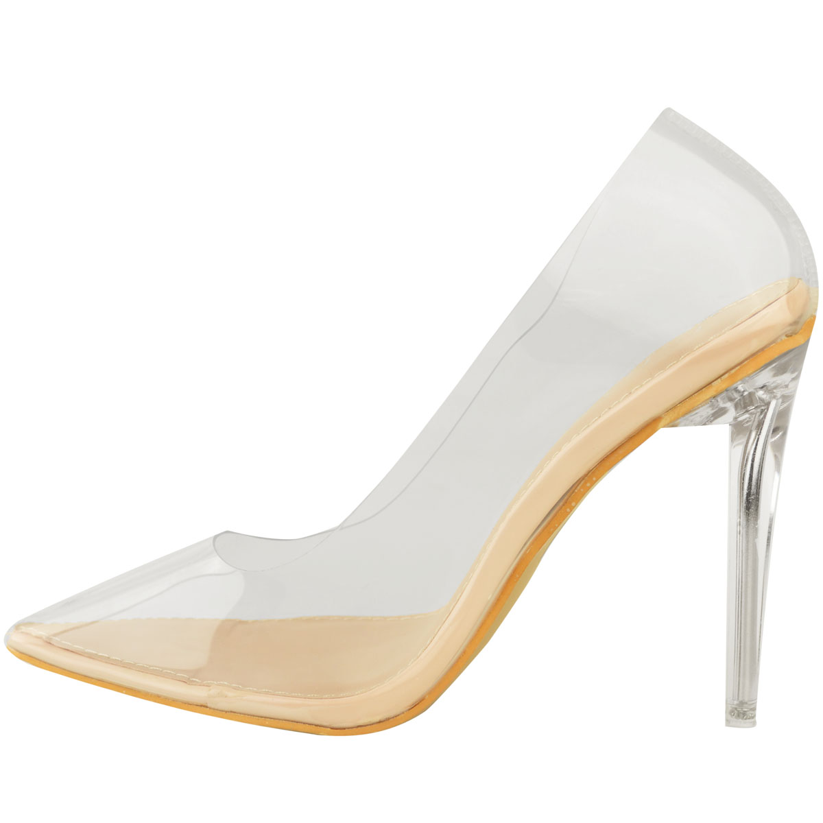 Womens Ladies Pointy Court Shoes High Heels Perspex Sandals Party Shoes Size