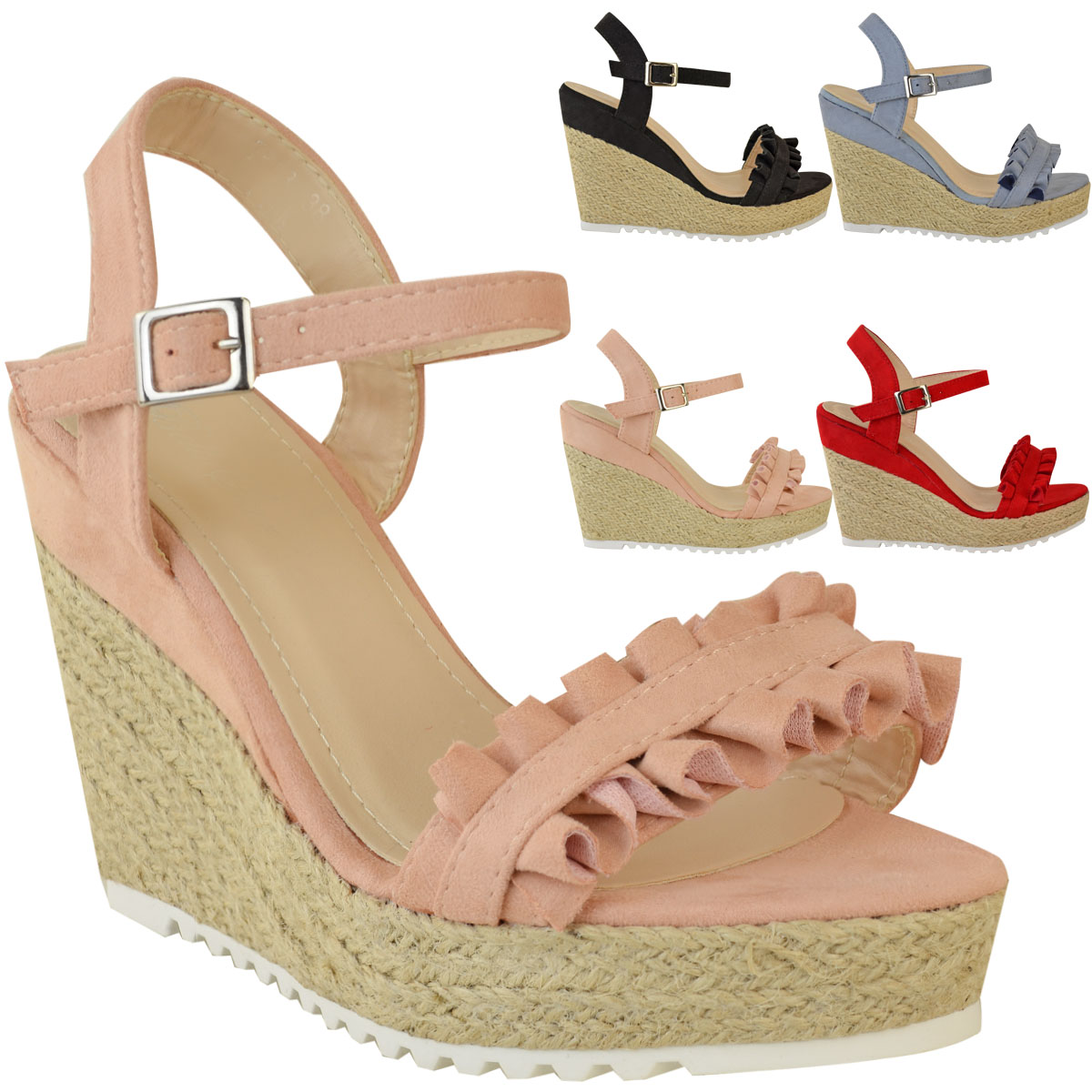 Womens Ladies Summer High Heel Wedge Frill Sandals Platforms Espadrilles Strappy