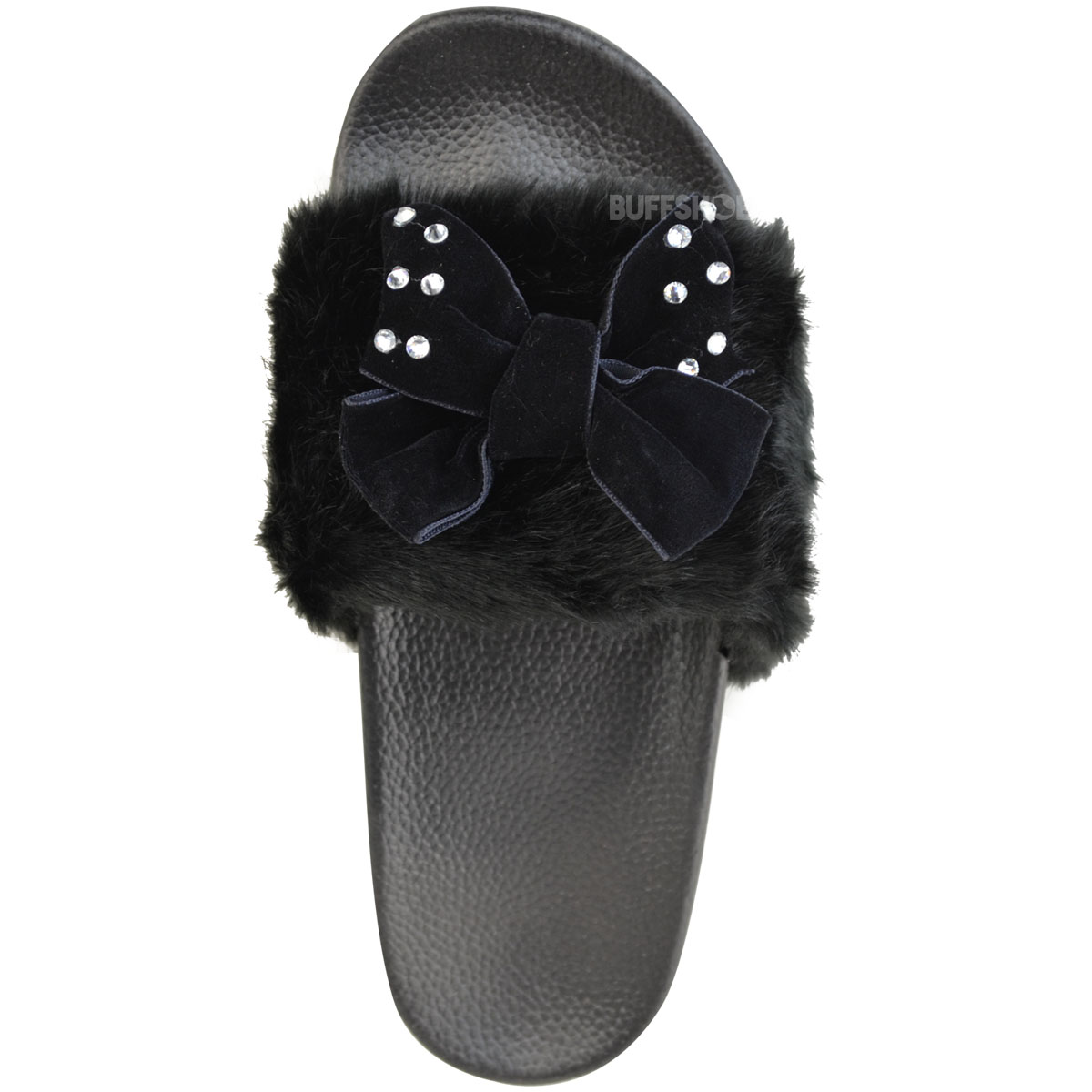 Womens Ladies Comfy Bow Slider Flat Faux Fur Slipper Diamante Sandal Slides Size
