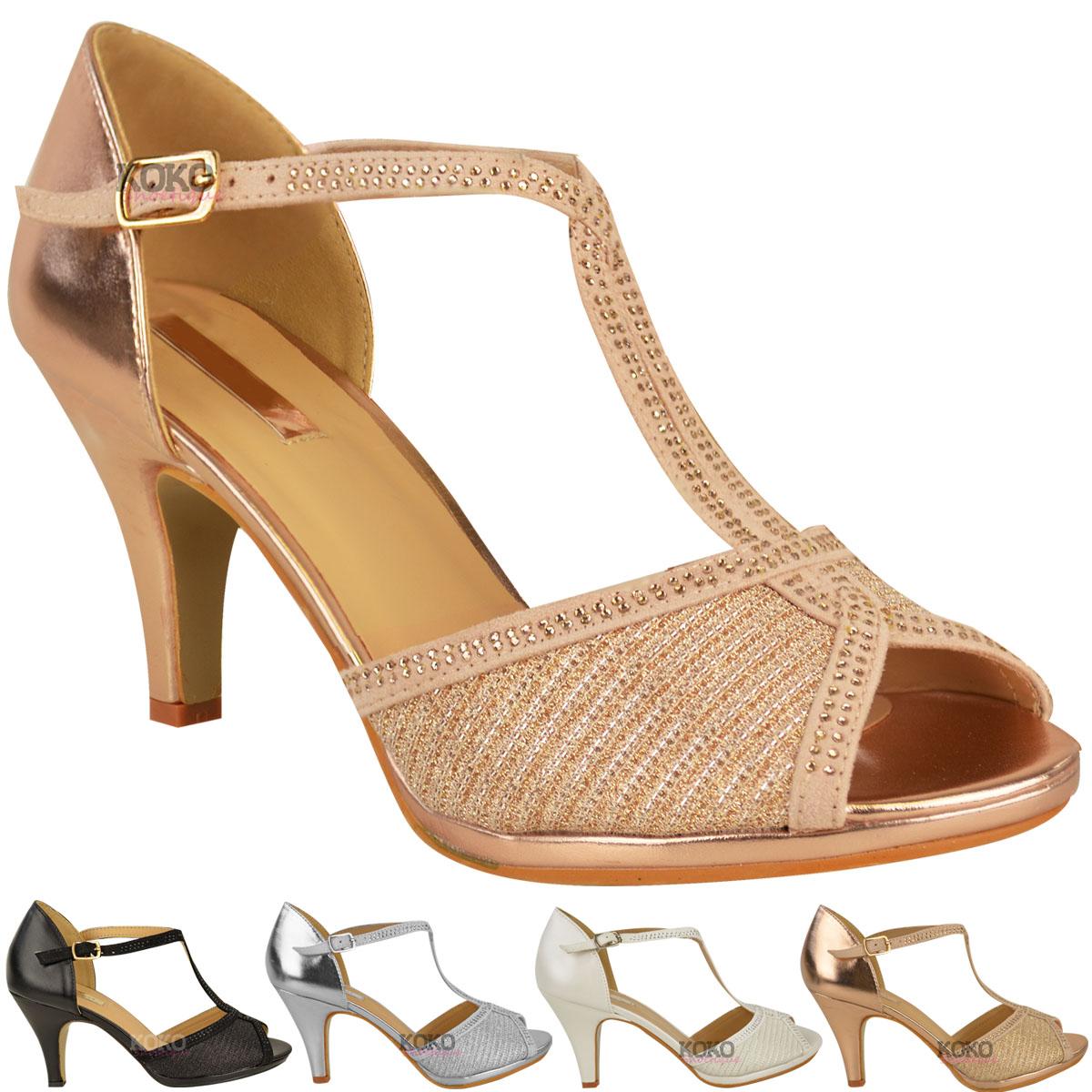 womens ladies wedding bridal shoes prom high heel diamante party sandals size ebay. Black Bedroom Furniture Sets. Home Design Ideas