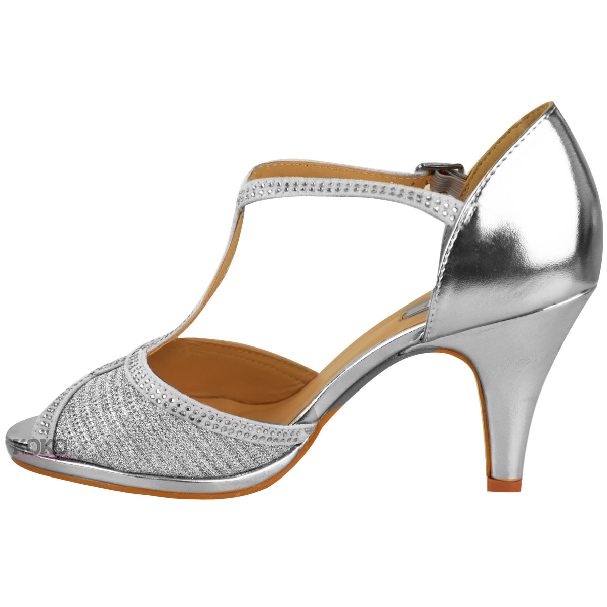 Details about Womens Ladies Wedding Bridal Shoes Prom High Heel Diamante Party Sandals Size