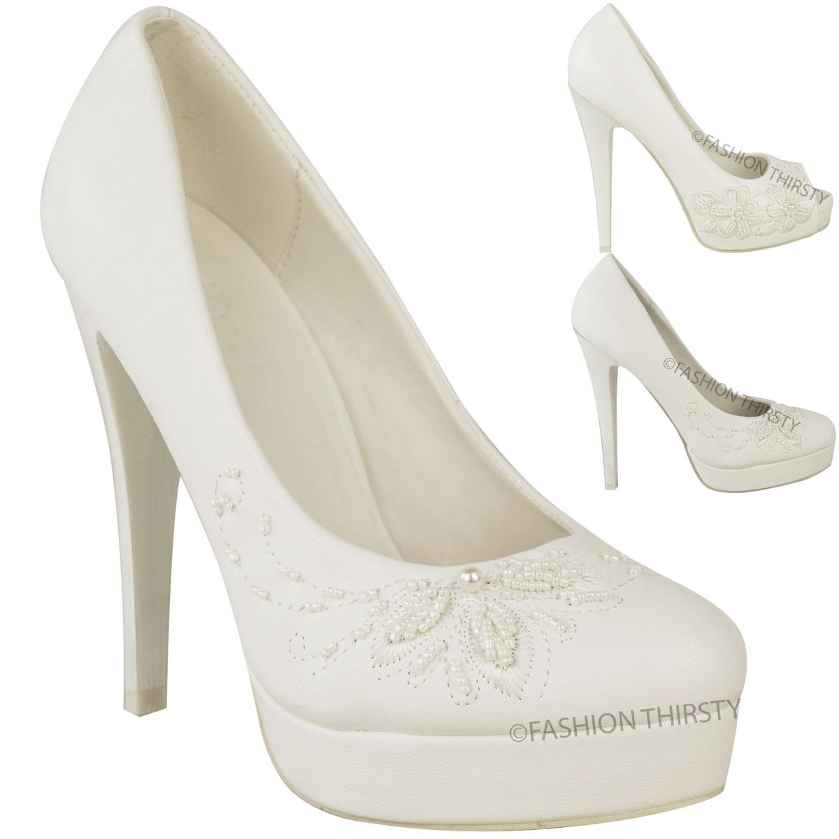 Womens Ladies Wedding Bridal High Heel White Shoes Stilettos Platforms Prom Size