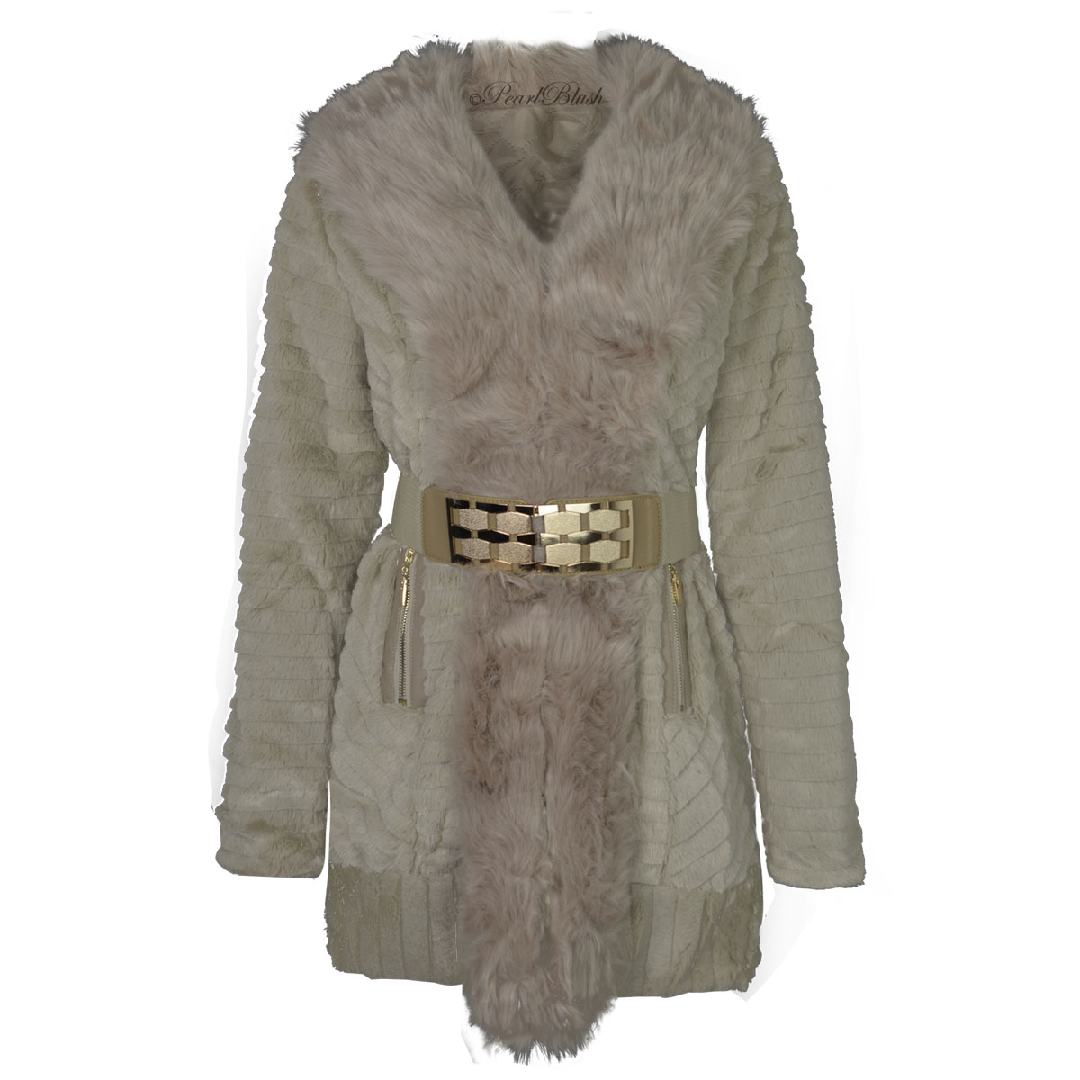 WOMENS LADIES FAUX FUR LONG SLEEVE WARM WINTER COAT BELTED ...