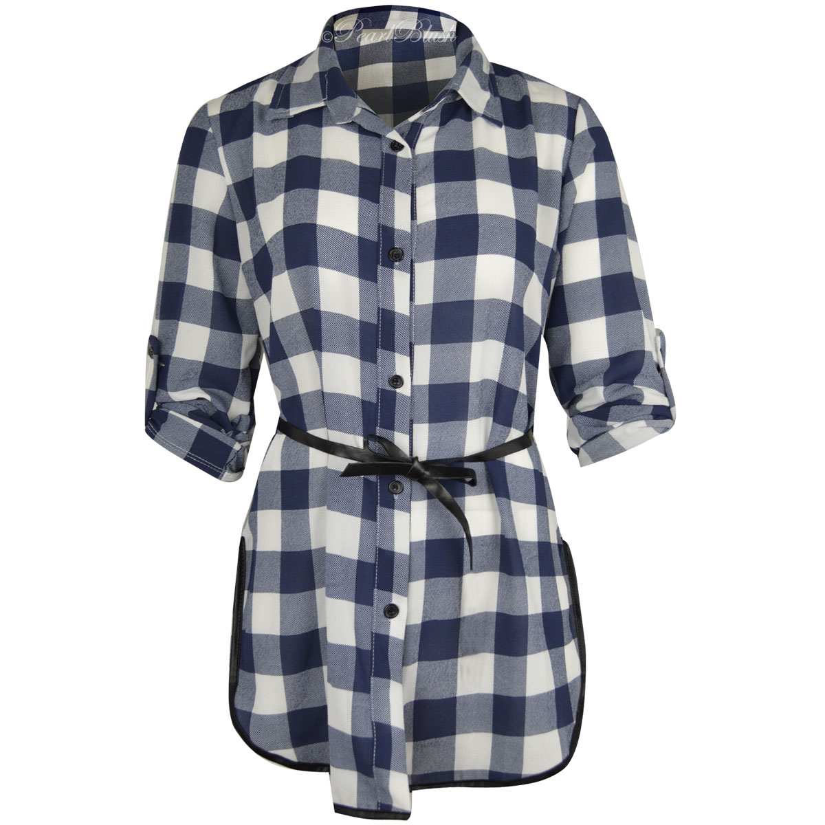 Womens Ladies Short Long Sleeve Checked Plaid Shirt Blouse