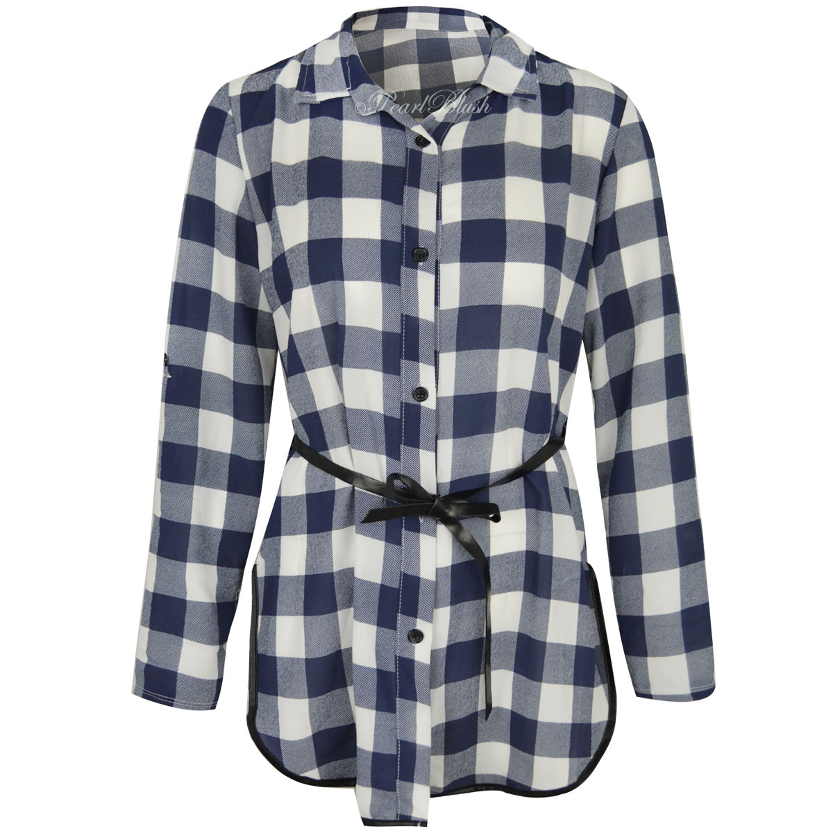 Womens ladies short long sleeve checked plaid shirt blouse for Plaid shirts for women