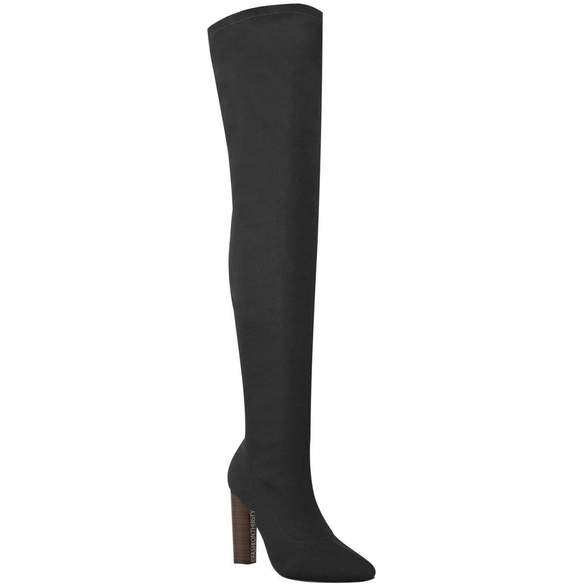 61cd0d75f93 Womens Ladies Thigh High Stretch Knit Boots Over The Knee Celeb High ...