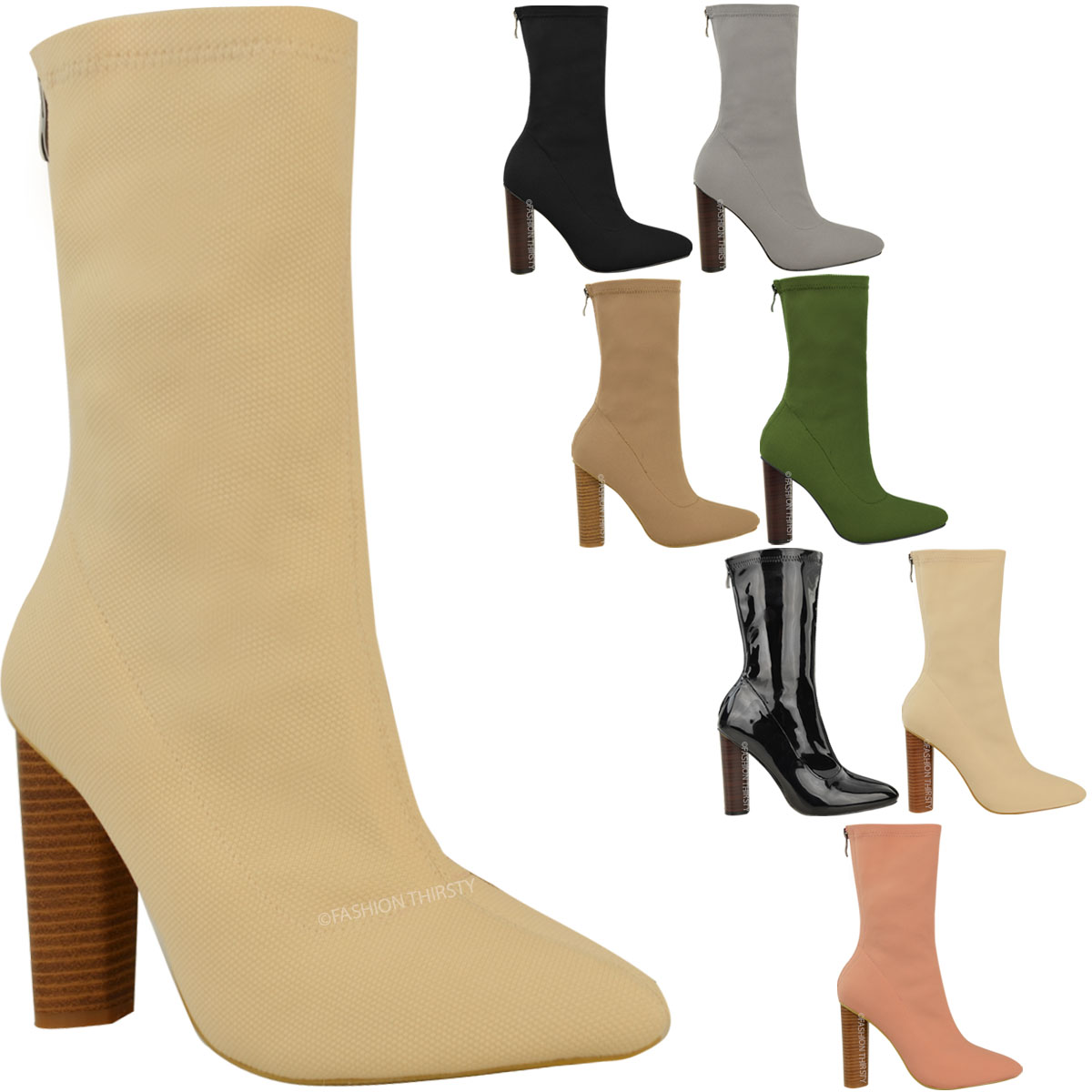 Cool Buy Ankle Boots For Women Boots Square Heels Pointed Toe Botas Women