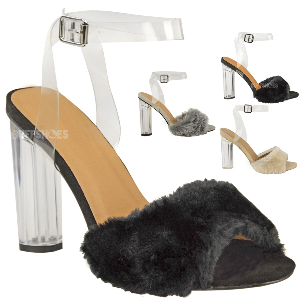 damen high heels mit transparentem blockabsatz. Black Bedroom Furniture Sets. Home Design Ideas