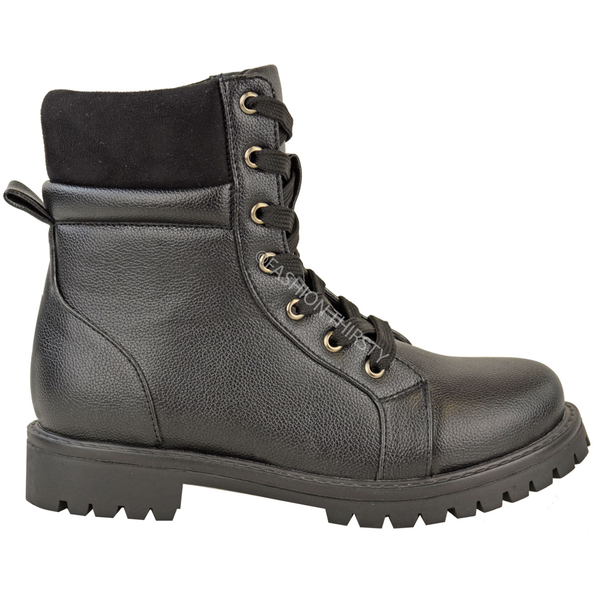 Elegant Womens Combat Style Army Worker Military Ankle Boots Chunky Punk Goth Shoes Size | EBay