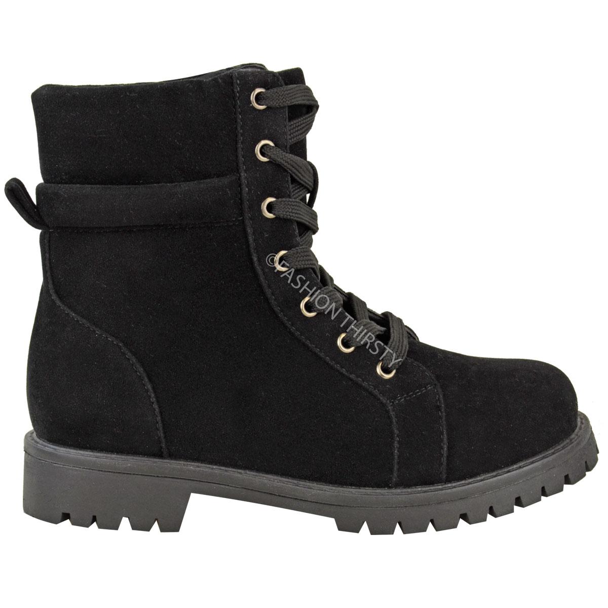 Perfect Womens Combat Style Army Worker Military Ankle Boots Flat Punk Goth Shoes Size | EBay