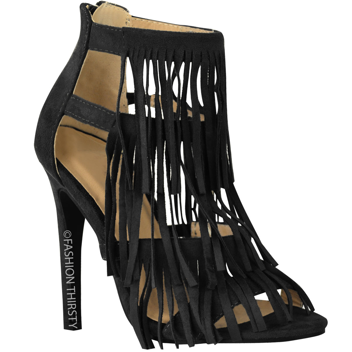 WOMENS LADIES FRINGE HIGH HEEL PARTY SANDALS TASSEL STRAPPY STILETTO SHOES SIZE