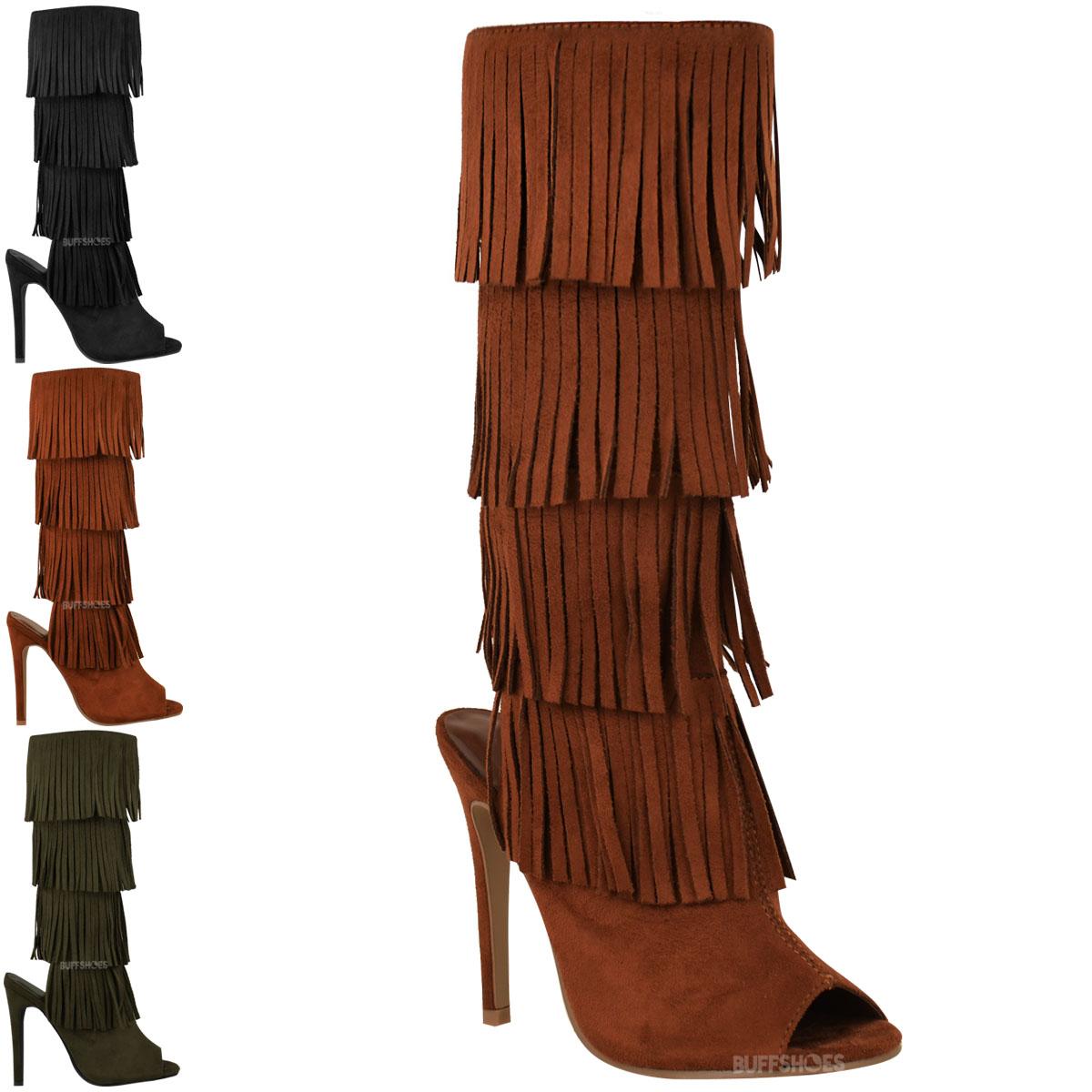 womens high heel tassel fringe boots open toe