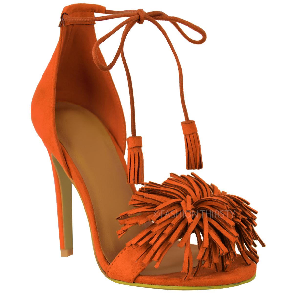 damen damen lace up high heel sandalen quaste fringe. Black Bedroom Furniture Sets. Home Design Ideas