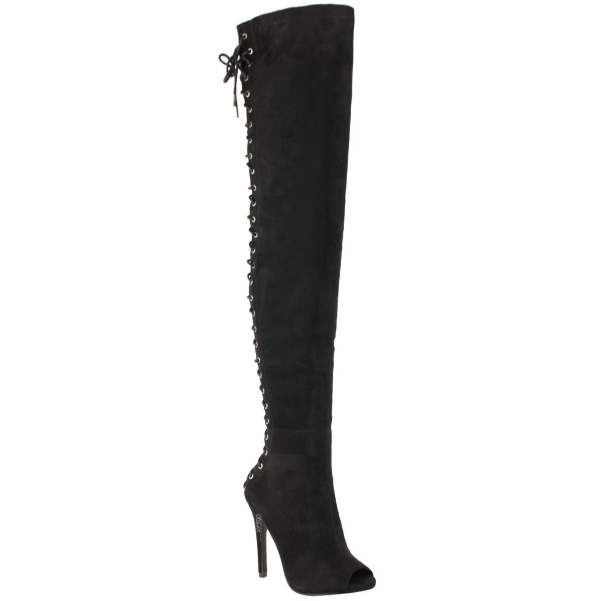WOMENS LADIES LACE UP THIGH HIGH OVER THE KNEE BOOTS OPEN TOE PARTY CELEB SIZE