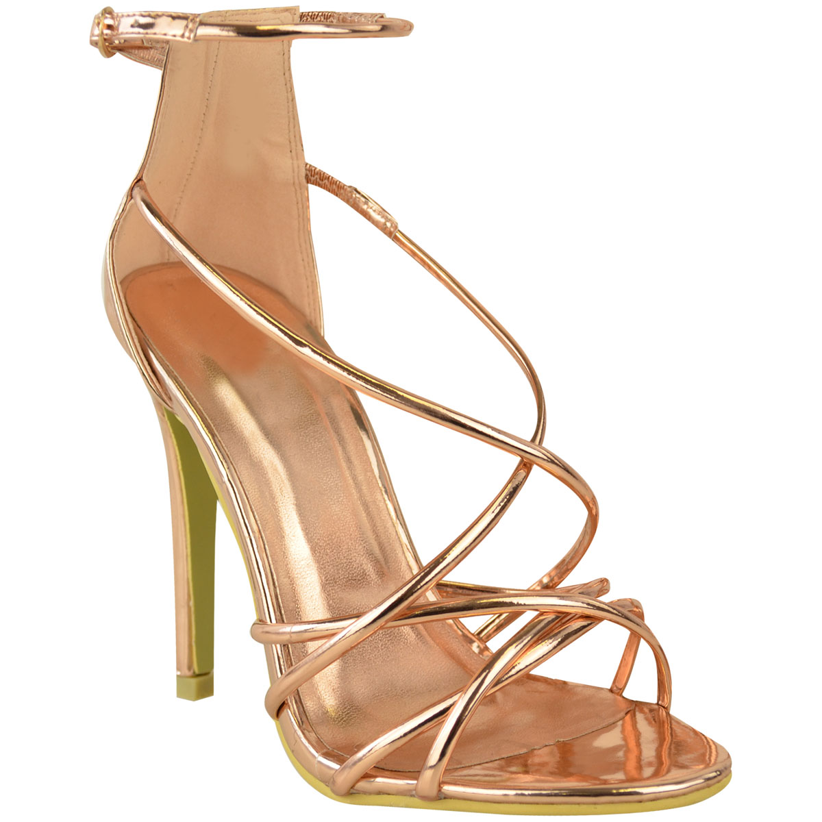 Womens Ladies Rose Gold Barely There High Heel Party ...