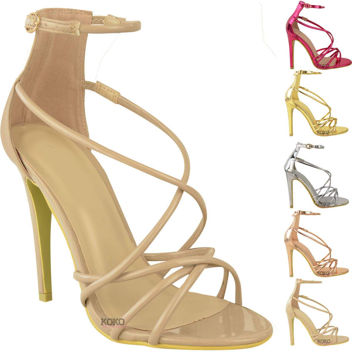 womens ladies high heels party sandals strappy stiletto celeb evening shoes size ebay. Black Bedroom Furniture Sets. Home Design Ideas