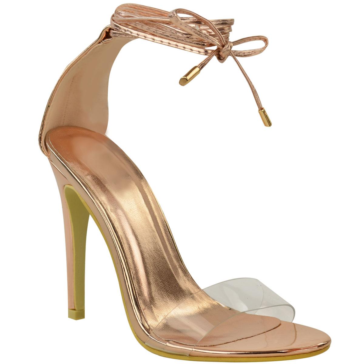 New Womens Ladies High Heel Perspex Ankle Strappy Celeb