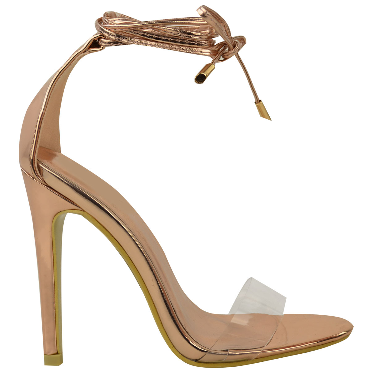Womens Ladies High Heel Barely There Clear Perspex Ankle Strappy Sandals Size UK