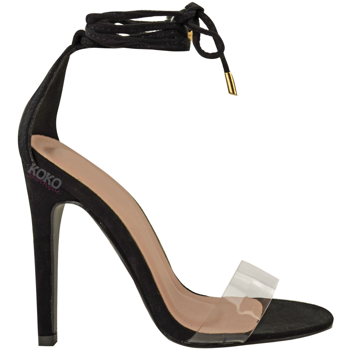 56212a3233dca8 Womens Ladies High Heel Barely There Clear Perspex Ankle Strappy ...